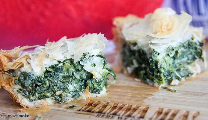 greek-inspired spinach pie on cutting board