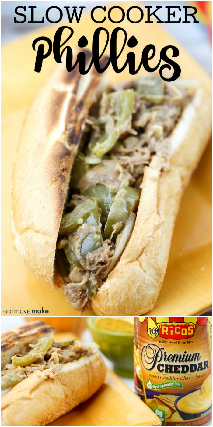 slow cooker philly cheese steak sandwich on plate