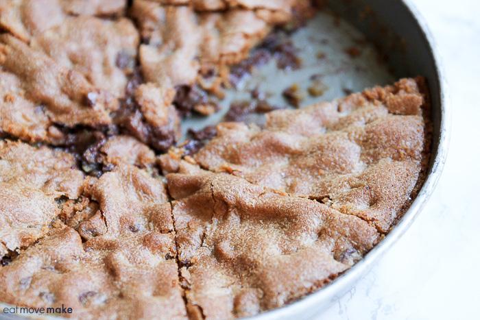 slice of chocolate chip skillet cookie