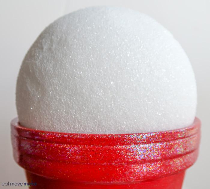 styrofoam ball in clay pot