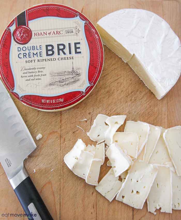 Brie cheese cut into thin strips