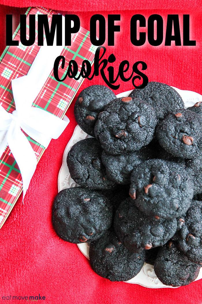 lump of coal cookies on plate