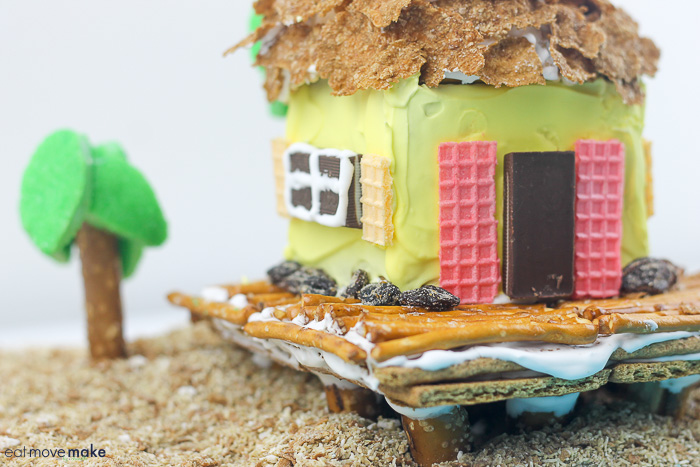 side view of cereal cottage on beach