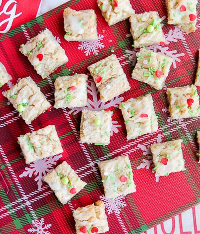cookie butter shortbread bars on tray