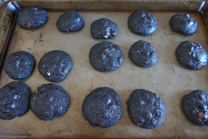 freshly baked lump of coal cookies