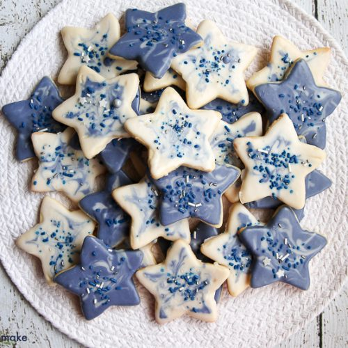 Plate of marbled star cookies