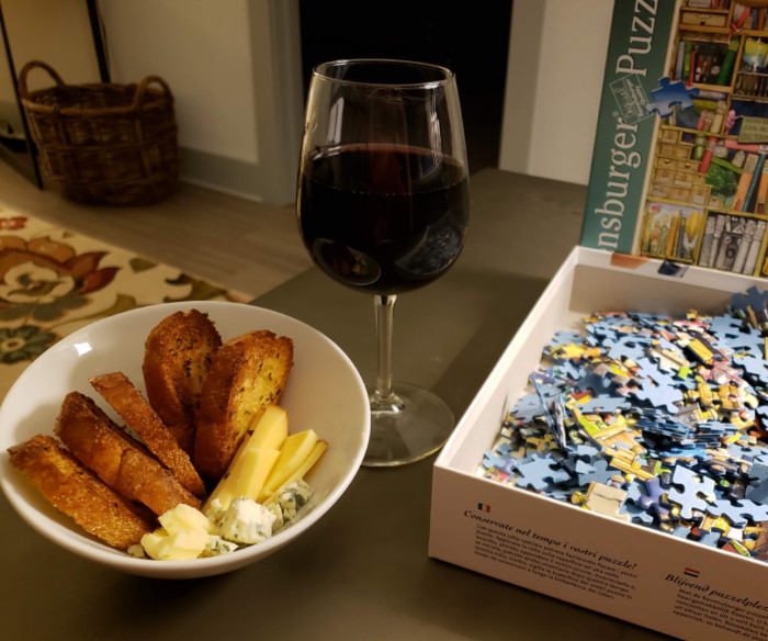 Italian wine cheese and puzzle