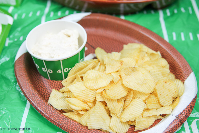 potato chips and dip on tray