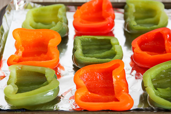 halved red and green peppers