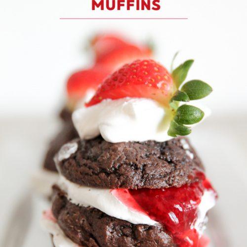 double chocolate strawberry shortcake muffins