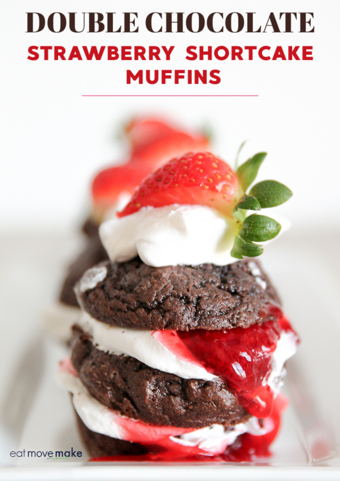 double chocolate strawberry shortcake muffins