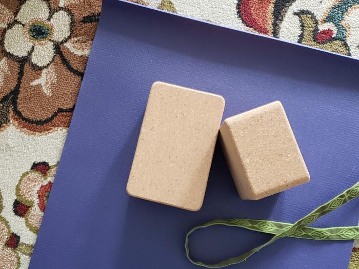 Yoga mat blocks and strap
