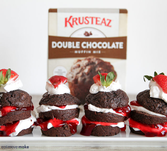 double chocolate strawberry shortcake muffins on tray with Krusteaz box in background