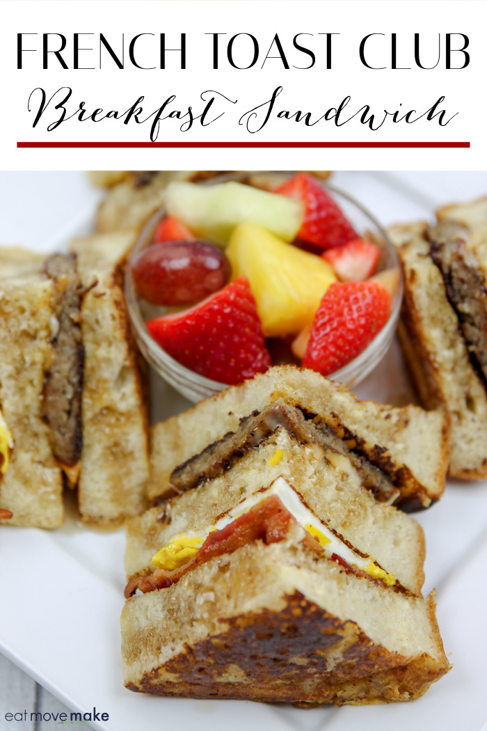 French Toast Club Sandwich cut in fourths with fruit