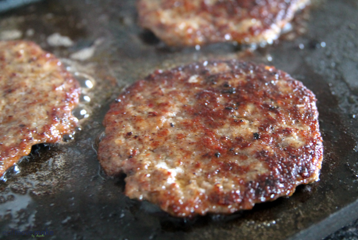 sausage patty on griddle