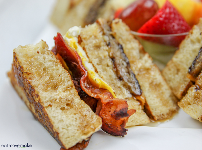 french toast club sandwich with bacon, egg and sausage