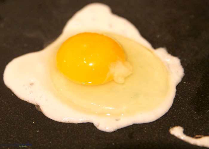 fired egg on griddle