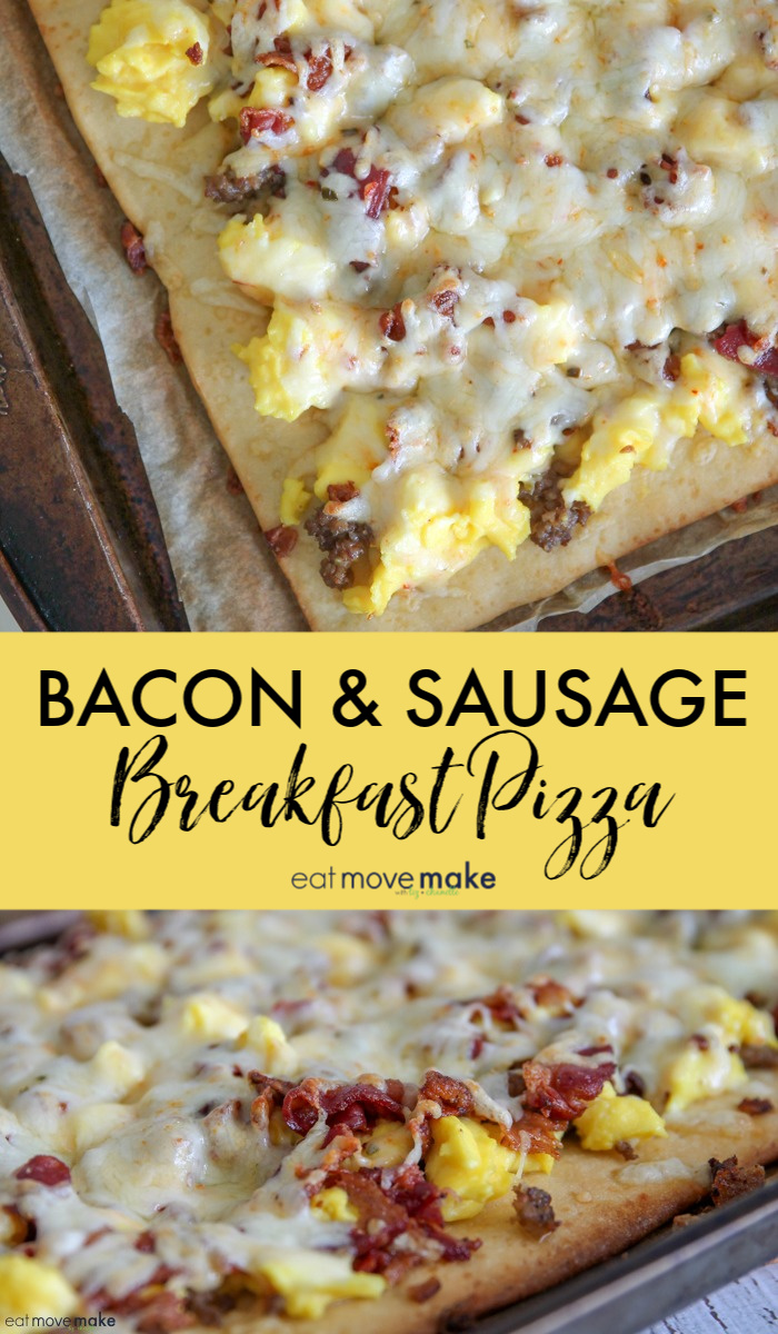 bacon and sausage breakfast pizza after baking