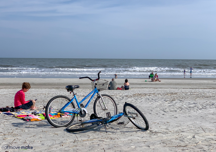 A group of bikes on a beach