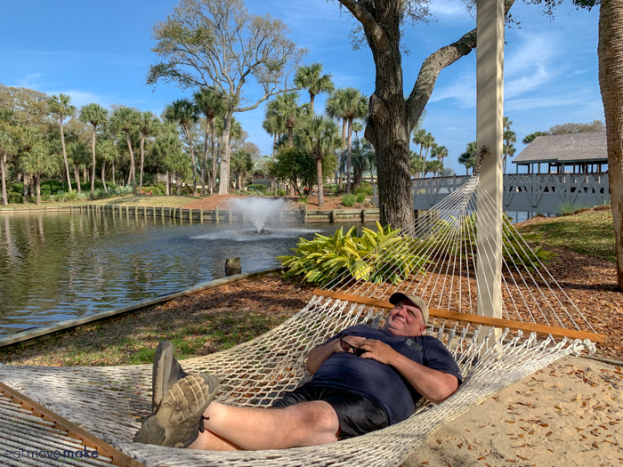 A man in a hammock