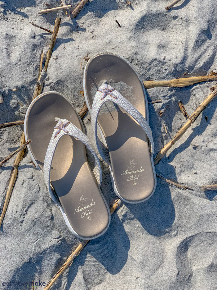A pair of sandals on beach