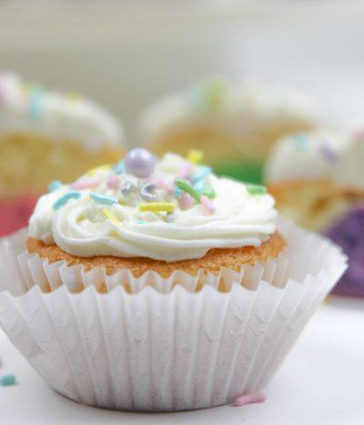 A close up of a cupcake