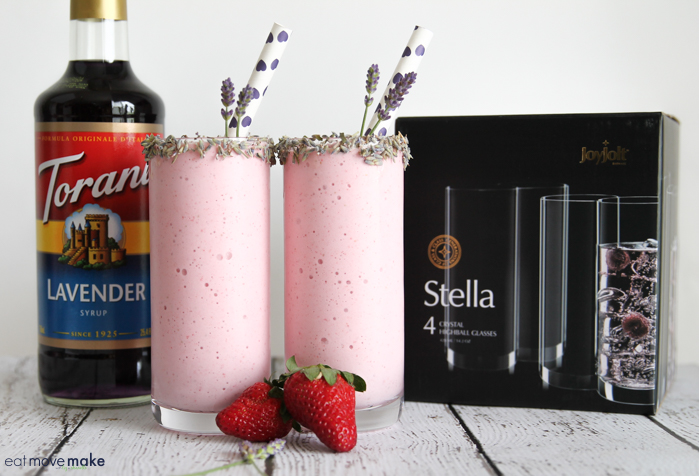 strawberry lavender smoothies with Torani lavender and Joyjolt glasses