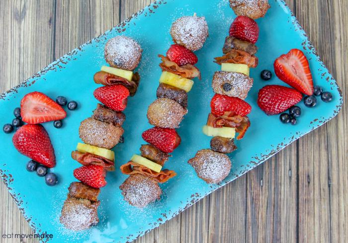 Blueberry Lemon Poppyseed Pancake Balls on kabobs with fruit