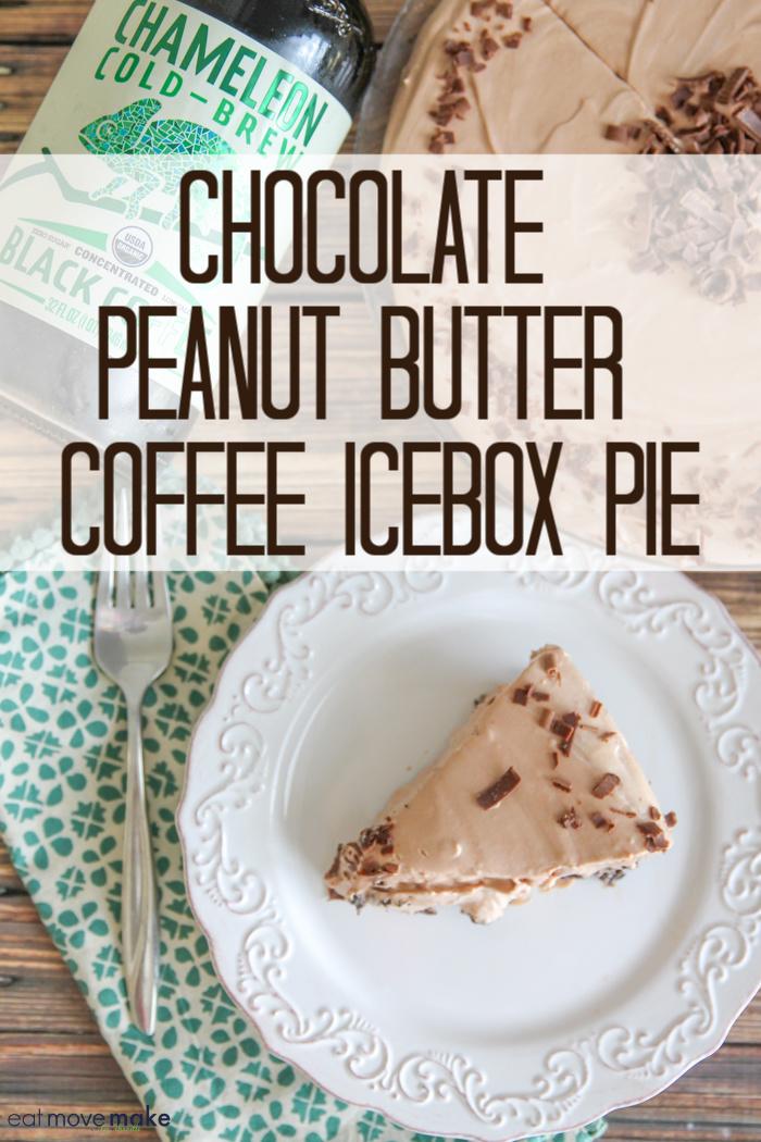 chocolate peanut butter coffee icebox pie slice on plate