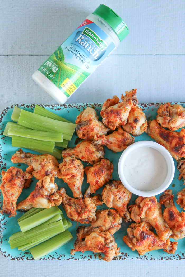 ranch buffalo wings with Hidden Valley Ranch shaker