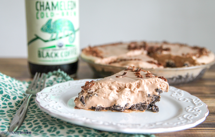 slice of chocolate peanut butter coffee icebox pie