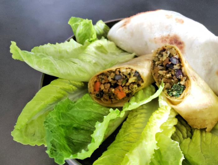 Sweet Earth Mindbender Quesadilla and Brazilian Burrito - vegetarian or vegan meal