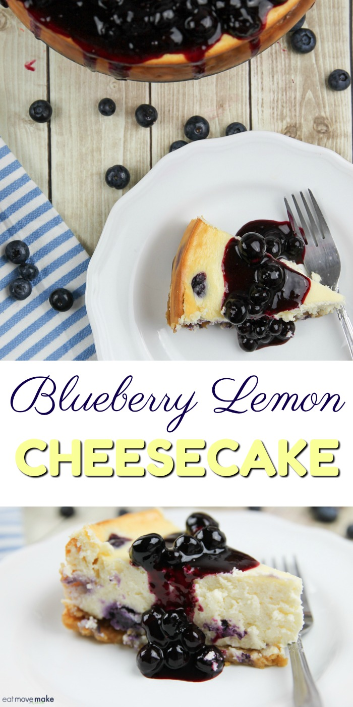 Blueberry Lemon Cheesecake with Lemon Cookie Crust on plates