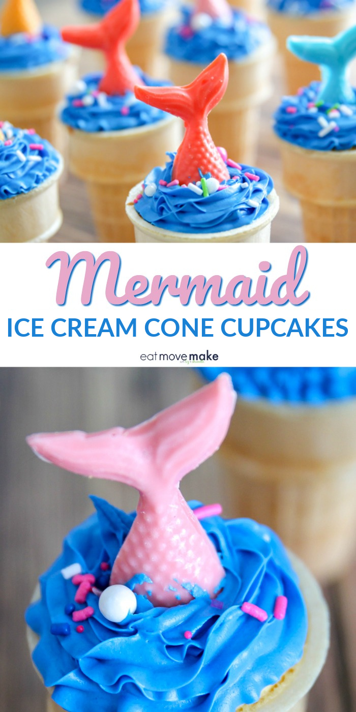 mermaid ice cream cone cupcakes