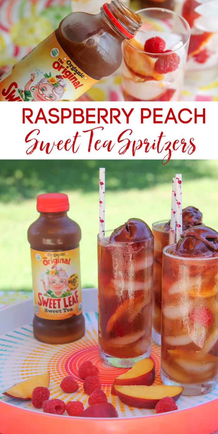 raspberry peach sweet tea spritzers