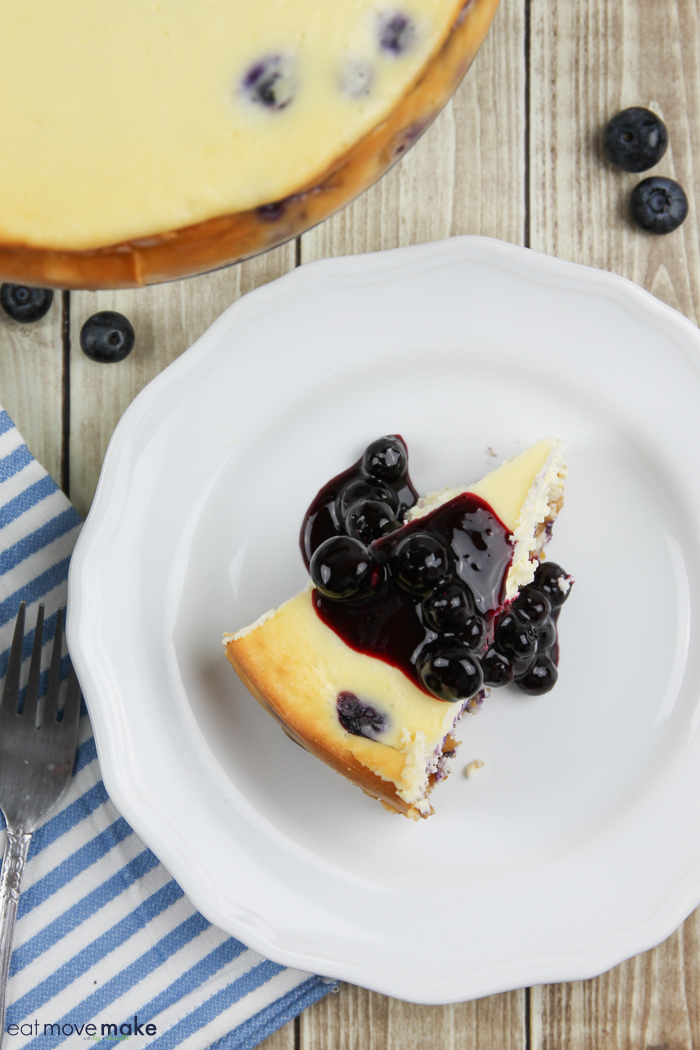 blueberry lemon cheesecake with blueberry compote on top