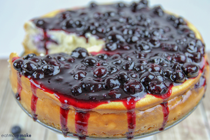 blueberry compote on top of cheesecake