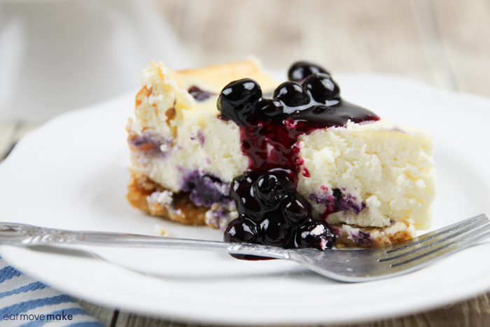 blueberry lemon cheesecake on plate with fork