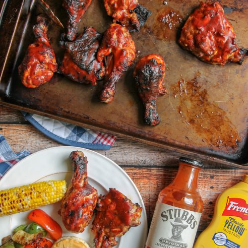 honey mustard marinated chicken with BBQ sauce