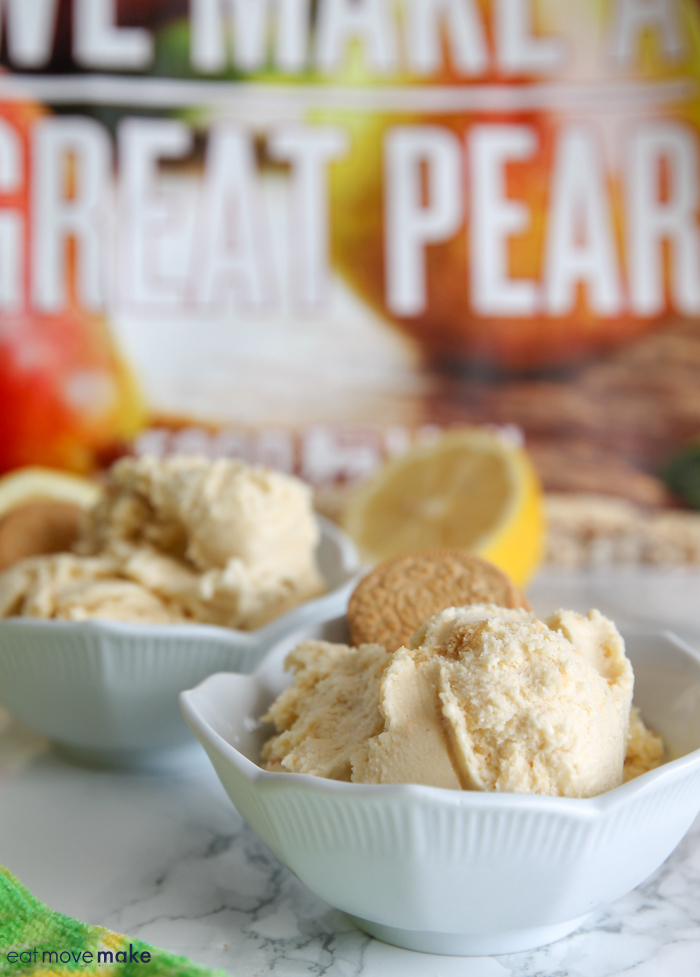 lemon basil cookie crunch ice cream in bowls in front of shopping bag