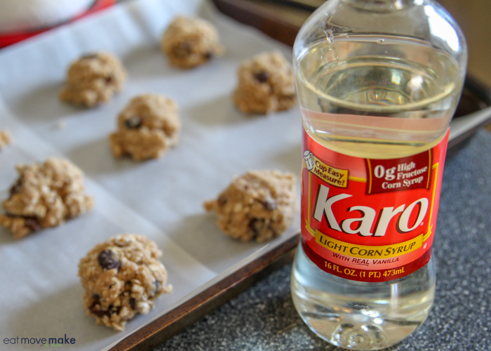 Karo syrup and cookies on cookie sheet