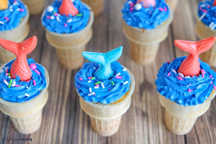 mermaid tails on mermaid ice cream cone cakes