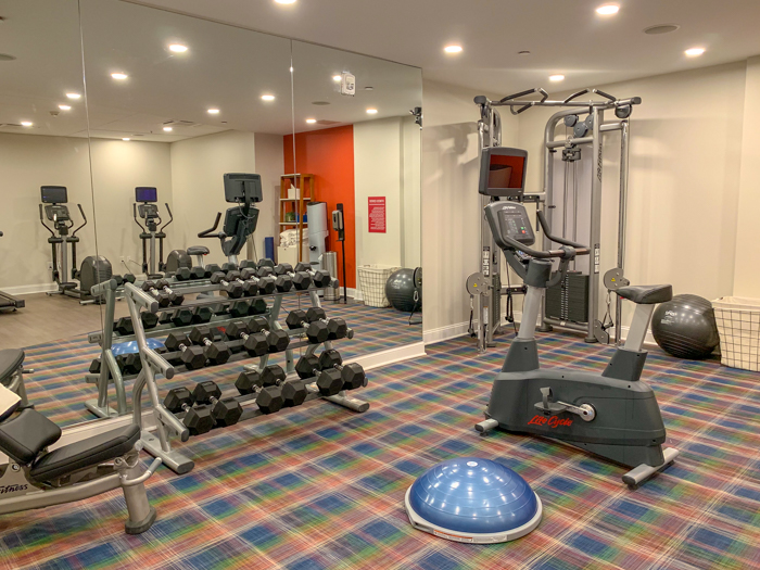A fitness room in a hotel
