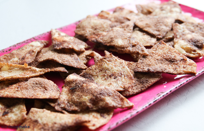baked cinnamon chips on tray