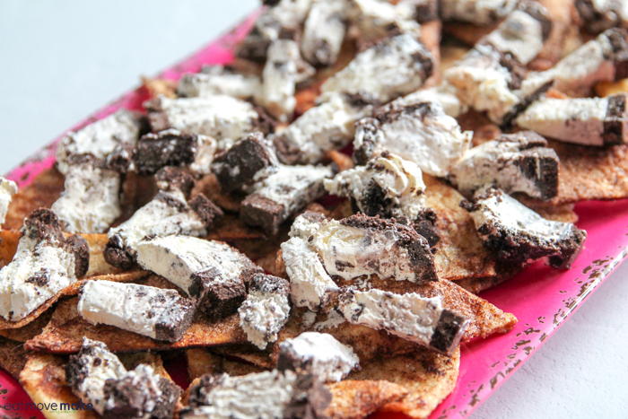 chopped cookies and creme ice cream pie on tray of nachos