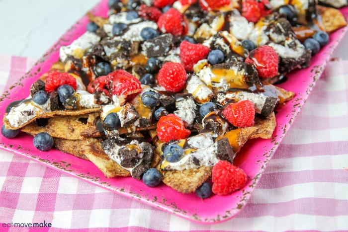dessert nachos on pink tray