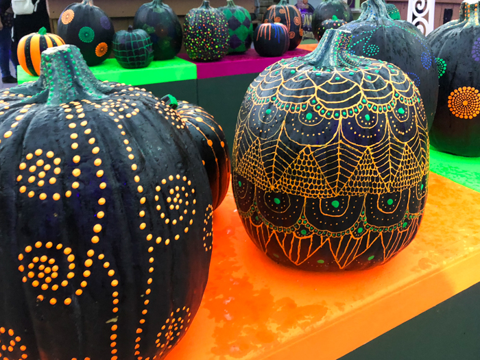 A group of colorful pumpkins