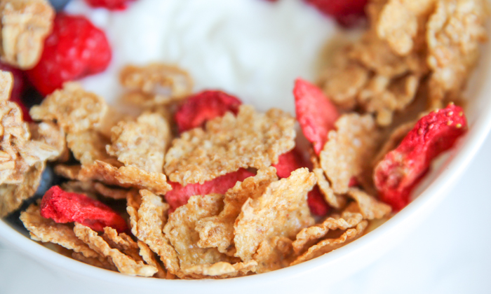 Special K with berries in bowl