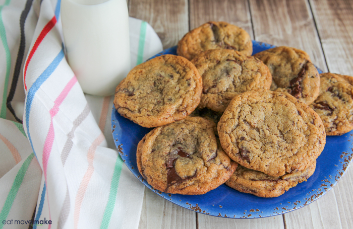 chocolate chip cookies on blue plate with milk glass