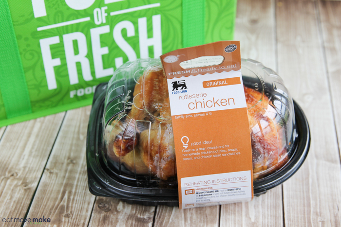 rotisserie chicken in to-go container